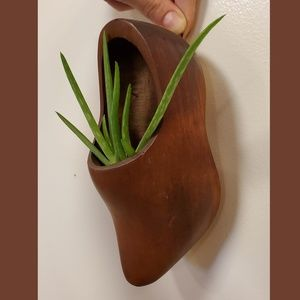 Hand carved wooden clog plant holder